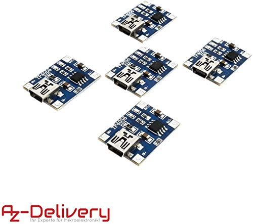 AZDelivery 5 x TP4056 Mini USB 5V 1A Laderegler Lithium Li - Ion Batterie Charger Modul