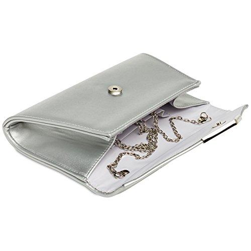 CASPAR TA363 elegante Damen XL Envelope Clutch Tasche/Abendtasche/Umhängetasche mit langer Kette