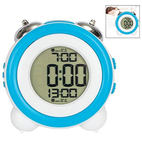 Iwobi Reloj de Alarma Digital con Despertador LED, Reloj de Alarma Ruidoso Twin Bell Luz Nocturna Funciona...