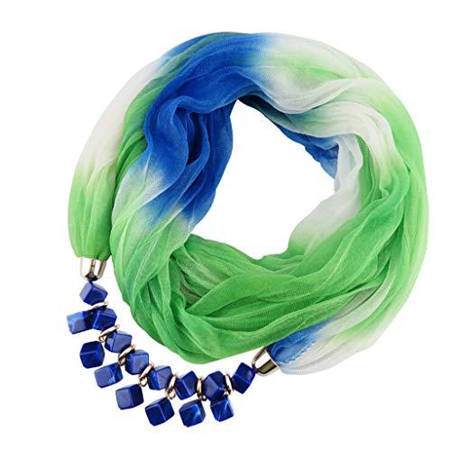 Oliviavan Damen Halskette Schmuck Halstuch mit Abnehmbarer Anhänger Farben auswählbar Blumen Chiffon Schals für Damen Halskette mit Perlen Anhänger Gradient Schal Lätzchen 175 x 42CM
