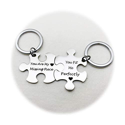 SonMo Schlüsselanhänger aus Edelstahl Puzzle You Are My Missing Piece Keychain Dekoration Schlüsselbund Silber mit Schlüsselringe, Kostenlose Gravur