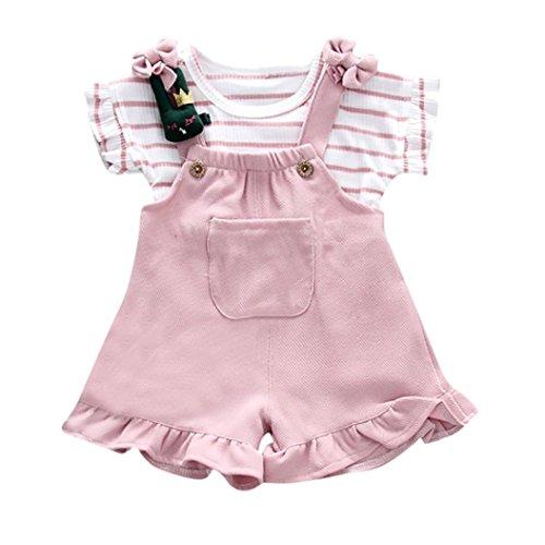 Sunnywill Baby Bekleidung Baby Jungen Mädchen Sommer Striped Kurzarm-Shirt + Hosenträger Shorts...