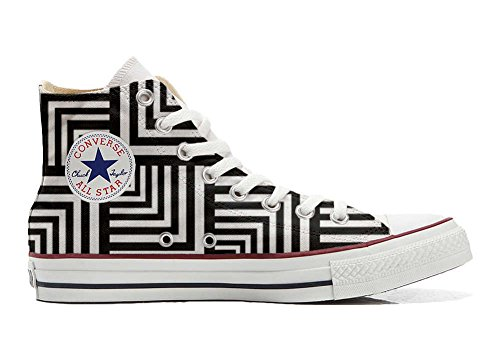 Converse All Star Hi Chaussures Coutume Mixte Adulte (Produit Artisanal) Geometric
