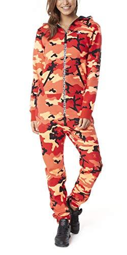 OnePiece Damen Unisex Logo Camo Jumpsuit, Rot (Red), X-Small