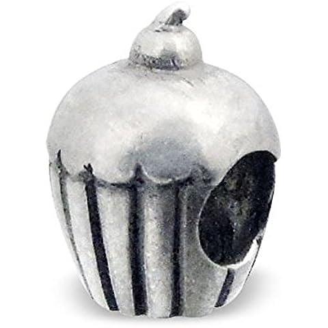 Silvadore-Bead in argento, motivo a righe, motivo: Cherry Cupcake, in argento Sterling 925 con Charm scorrevole 627 europea, adatto per Pandora, in confezione regalo