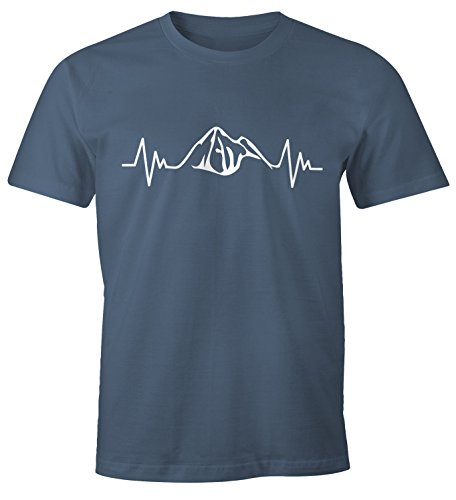 MoonWorks Herzschlag Berge Herren T-Shirt Heartbeat Mountain Denim M