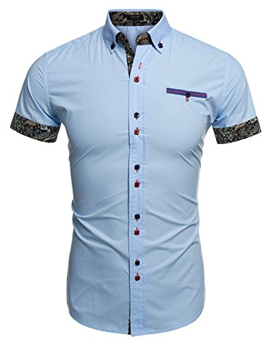 Coofandy Mens Casual Short Sleeve Shirt Printing Dress Shirt