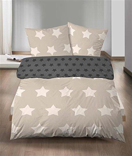 Castell biancheria da letto in flanella, 2pz, copripiumino double-face, 135x 200cm federa cuscino 80x 80cm, a stelle beige