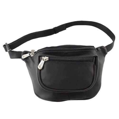 Piel Leather Les Voyageurs Taille Sport Sac de Taille, 23 cm, Noir