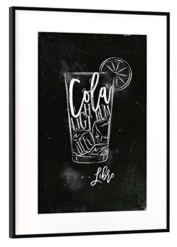 artboxONE Poster mit Rahmen Schwarz (Metallic) 60x40 cm Cuba Libre Cocktail Chalk von Anna Kozlenko - gerahmtes Poster