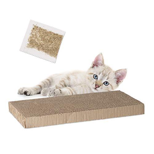 Relaxdays rascador Gatos cartón Rectangular Hierba