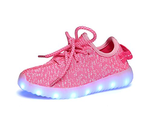 Feicuan Child USB Aufladen LED Light Colorful Lace-Up Turnschuhes Pink