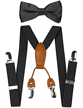 Bebés Niños Toddler Adjustable Elastic Braces Suspenders y Bow Tie Set