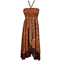Boho Chic Designs Womens Hi Low Halter Dress 2 Layer Upcycled Silk Sari Beach Babe Dresses S