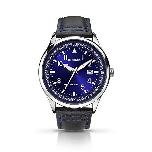 Sekonda 1462 Montre analogique pour Homme avec Bracelet en Cuir Noir Cadran Bleu