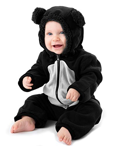 (Funzies Fleece leichte Jacke - Winter Pyjama Oberbekleidung für Baby 0-3 monate Schwarz/weißer Bär)