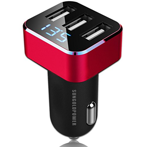 SUNGOLDPOWER 12V/24V 3 USB Ausgang DC 5V 3.1A KFZ Ladekabel Auto Ladegerät Strom Zigarettenanzünder Adapter mit Digitalanzeige Car Charger für iPhone, iPods, iPad, Samsung Galaxy Note, Android / Windows Smart Handys, GPS, Tablets und mehr (Rot Mit Drei USB)