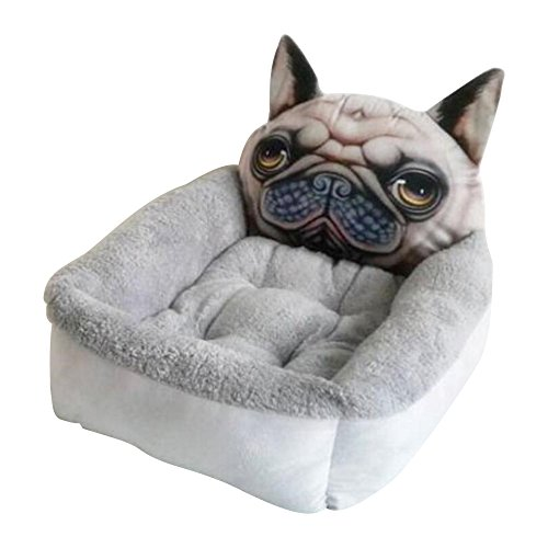 Eastlion Solft Komfortable Niedlichen Cartoon Winter Fleece Warme Hundebett Sofa Pet Caushion, Grauer Hund L