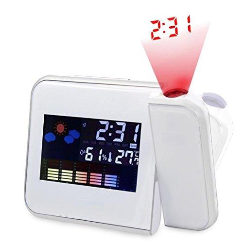 STRIR Reloj de proyección digital, Pantalla LED Alarma de proyección Reloj,Termómetro, Humedad, Snooze, Temperatura 12/24 Hora