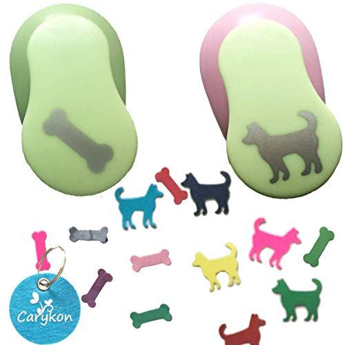 Carykon - Perforadora de papel con forma de hueso y perro, 2,54 cm, 2 unidades