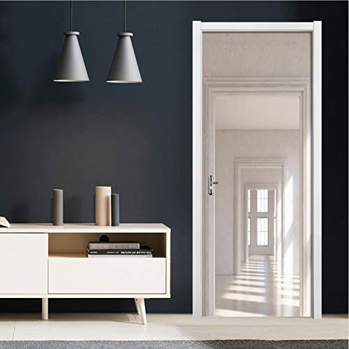 Metall Toskana Spiegel (PVC selbstklebende Tapete Nordic Stereo Raum Tür Aufkleber 3D Wand Wohnzimmer Tür Dekor Kunst Wandaufkleber-85X200)