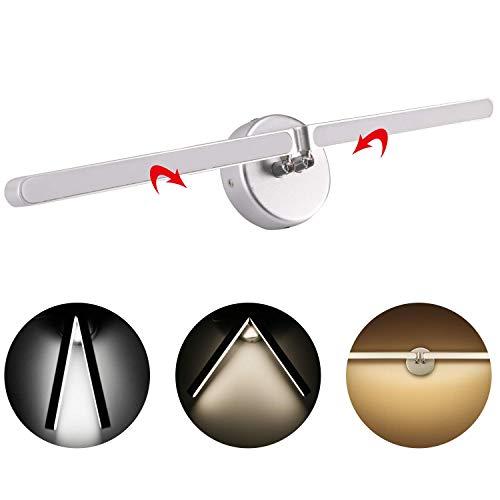 AGPTEK 9W LED Spiegelleuchte Winkel einstellbar 180° Wandleuchte, 3000K Rotierende und faltbare Aluminium Bettlampe für Bad, Schlafzimmer, Wandschrank, Korridor, Wohnzimmer, Warmweiß