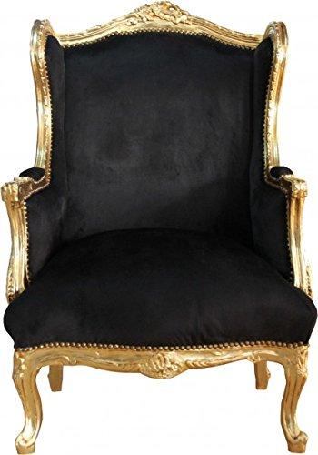 Barock Lounge Thron Sessel - Casa Padrino Antik Stil Ohrensessel Tron Stuhl Schwarz/Gold Mod2