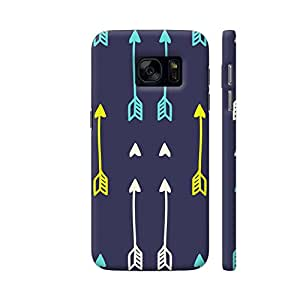 Colorpur Arrow Print On Blue Printed Back Case Cover for Samsung S7