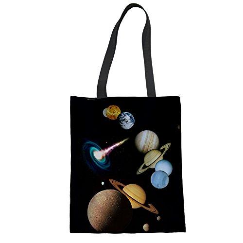 Monogrammiert Einkaufstasche Galaxy Moon Printing Arbeitstote schwarz mit Langen Henkeln