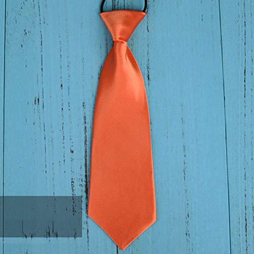Mode Schule Jungen Kinder Kinder Baby Hochzeit Einfarbig Elastische Krawatte Junge Krawatte Baby Hochzeit Krawatte Krawatte Fleck - Orange Rot
