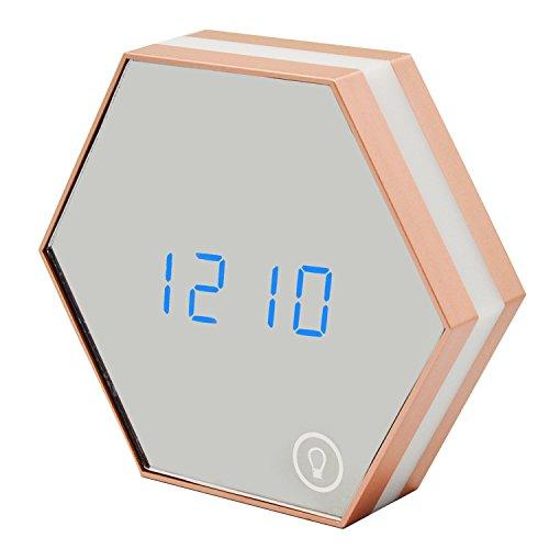 Gosear Multifunktion Elektronische Alarm Uhr Portable Sechseck Digital Spiegel Alarm Uhr Wiederaufladbare Tippen Sie auf Unter der Leitung Nacht Licht Wand Lampe Anzeige Temperatur für Schreibtisch Wohnzimmer Kinder Erwachsenen Schlafzimmer Champagne