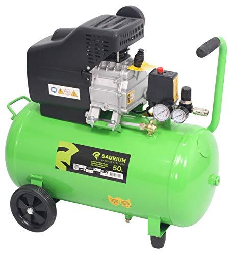SAURIUM - Compresor de Aire - Monobloco - 50L 1.5HP - - Cabeza de grandes dimensiones com más producion...