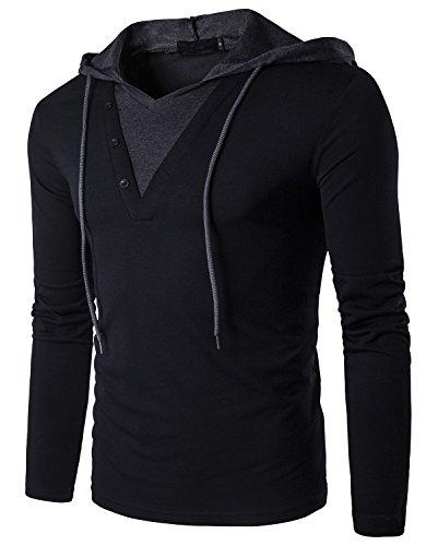 WEIJIGUOJI Men's Casual Hoody T-Shirts Slim Fit Pullover Hooded Long Sleeve Tops