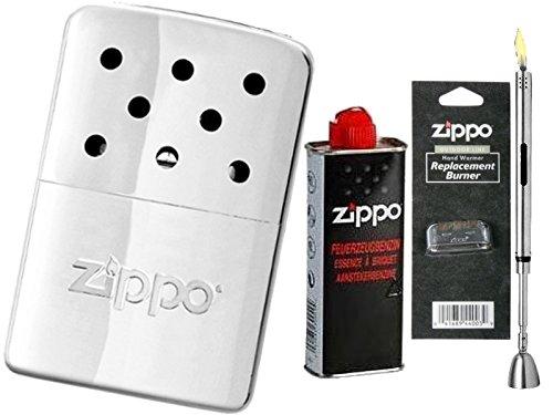 Zippo MINI Handwarmer / Handwärmer / Taschenofen Chrom Poliert + Zubehör Starter Set & Stabfeuerzeug Chrome