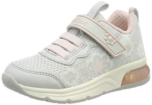 Geox Mädchen J SPACECLUB Girl A Sneaker, Grau (Lt Grey/Pink C1296), 32 EU