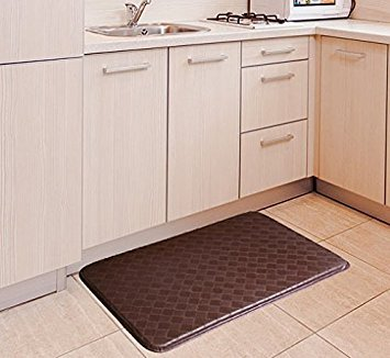 GPCT Anti-Fatigue Memory Foam Home/Kitchen Mat and Anti-Slip Surface, Stain and Water Resistant, 30×18×0.75(L×W×H) - Brown by GPCT