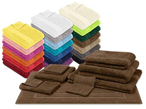 npluseins Packs zum Sparpreis - solide Frottiertücher - erhältlich in 20 modernen Farben und 8 verschiedenen Größen, 6er Pack Seiftücher (30 x 30 cm), Schokobraun