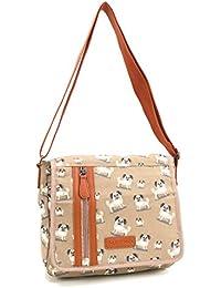 ed5a67139427 Quality Satchel Handbag Long Shoulder Strap Bag School Girls Cross Body  Messenger Beige - Pug Dog