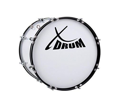 """XDrum MBD-218 Marsch Bass Trommel, Fußball Pauke 18"""" x 12"""" (6,5 kg, 4 Ösen, Spannschrauben, inkl. Paar Schlägel, Tragegurte, Stimmschlüssel) weiß"""