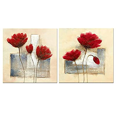 Wieco Art - Charming Spring Modern 2 Panels Stretched and Framed Giclee Canvas Prints Artwork Abstract Floral Oil Paintings Style Picture Photo on Canvas Wall Art for Bedroom Home Decorations 2pcs/set - cheap UK light store.