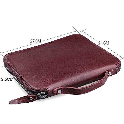AYOUYA Aktentasche Lederhandtasche Laptoptasche Umhängetasche Herren Ledertasche mit Schultergurt HAND MADE Messenger Bag Businesstasche mit Laptop Fach Schultertasche (Braun) Leder