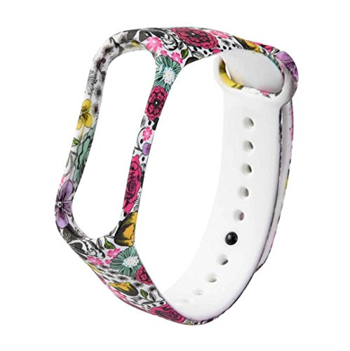 IGEMY Armband - Neue Mode Muster TPU Smart Wrist Strap für Xiaomi Mi Band 3 Stilvoll und Langlebig (C Klassische Blume)