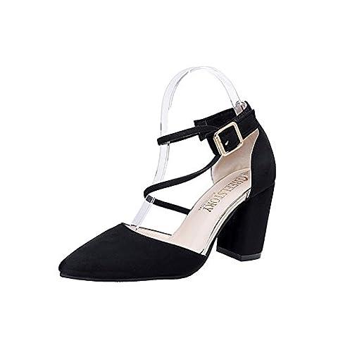 Chaussures de talon rugueux avec baotou pointu,boucle chaussures femmes,cross strap suede chaussures-A Longueur du pied=23.3CM(9.2Inch)