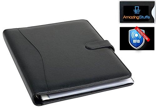 Conférencier porte-document RFID avec classeur pochettes amovibles en papier A4 – Parfait pour réunion – Porte-carte professionnel noir, organiseur en cuir et porte-document bureau