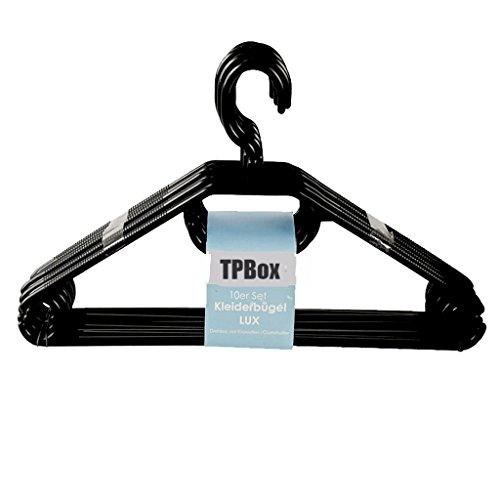 TPBox Kleiderbügel 20 Stück in schwarz | extra schwerer Wäschebügel aus Kunststoff - Made in EU