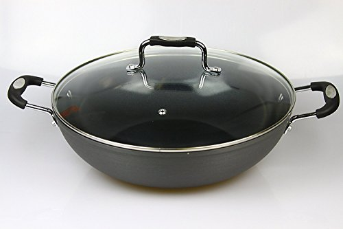 Mastercook Longlife Cookware Hard Anodized Non-Stick Ceramic Coated Wok / Kadai With Glass Lid (32cm/5.54L)