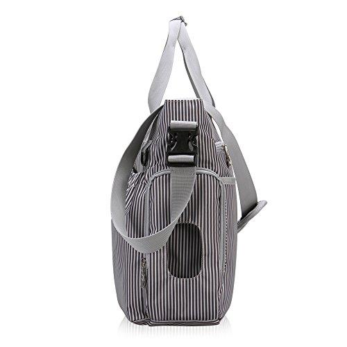 Veevan Baby Gestreift Wickeltasche Windelsäckchen Handtasche 3-teiliges Set mit Wickelunterlage Grau Grau