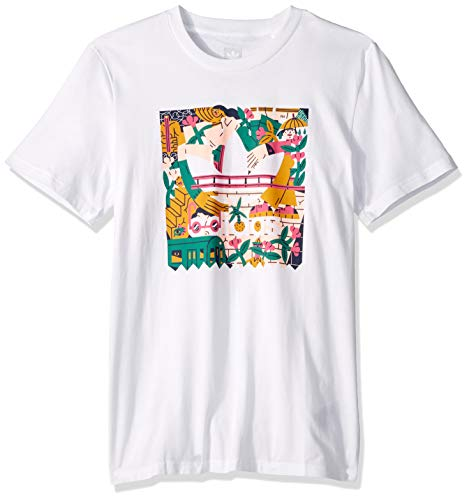 Scott Weiß Logo (adidas Originals Herren Edgewood Tee T-Shirt, White/Pink/Tactile Yellow/Active Green, X-Groß)