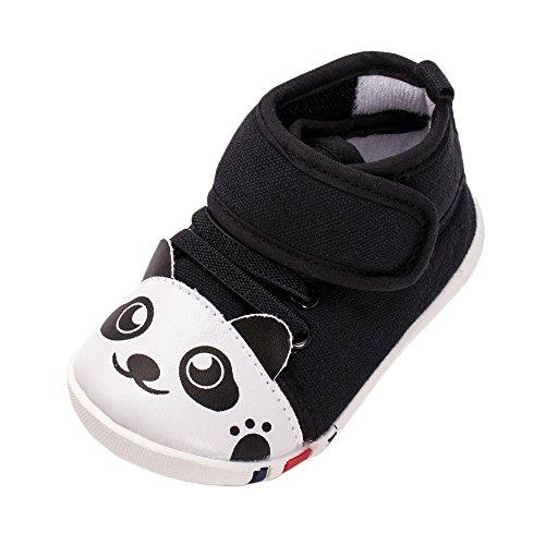 ESTAMICO Unisex Baby Jungen Mädchen Panda High-Top Turnschuhe Kleinkind Lauflernschuhe Schwarz 12-18 Monate (6 High-top Größe Sneakers Mädchen)