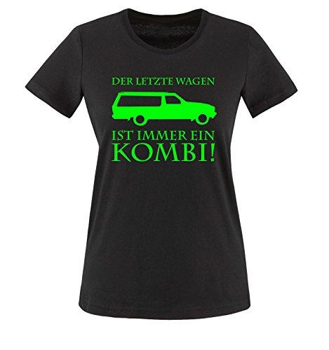 Der letzte Wagen ist immer ein KOMBI - Damen T-Shirt - Schwarz / Neongrün Gr. 3XL (Markt Wagen)